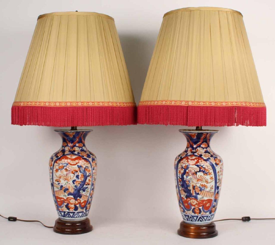 Pair of Imari Palette Porcelain Vases