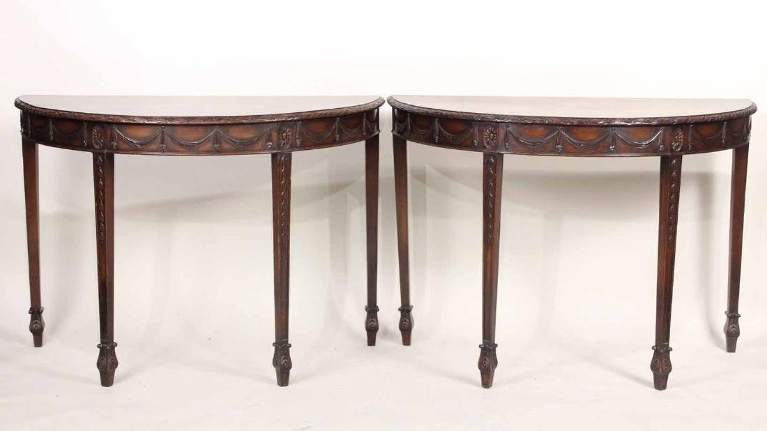 Pair George III Style Mahogany Demilune Tables