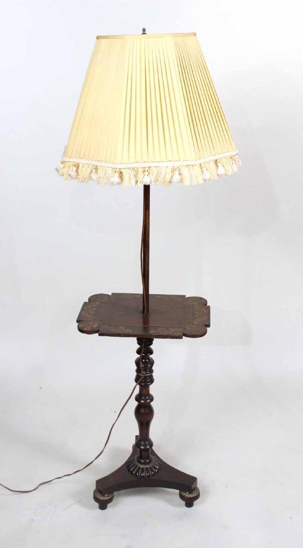 Victorian Papier Mache Decorated Table Floor Lamp