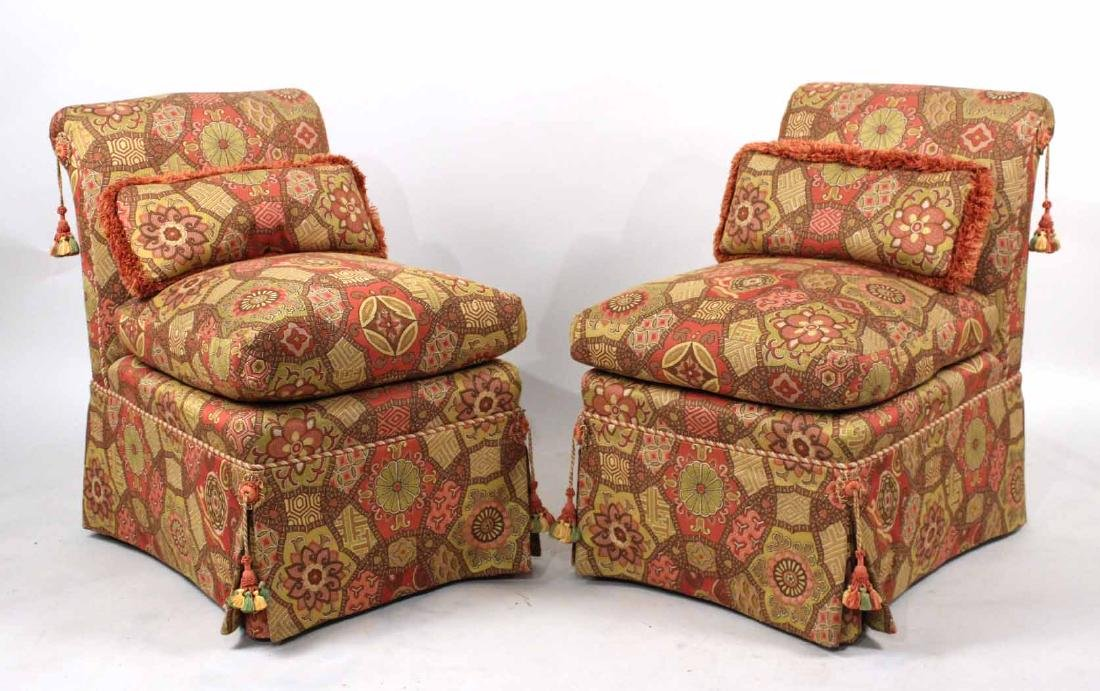 Pair of Contemporary Upholstered Backstools