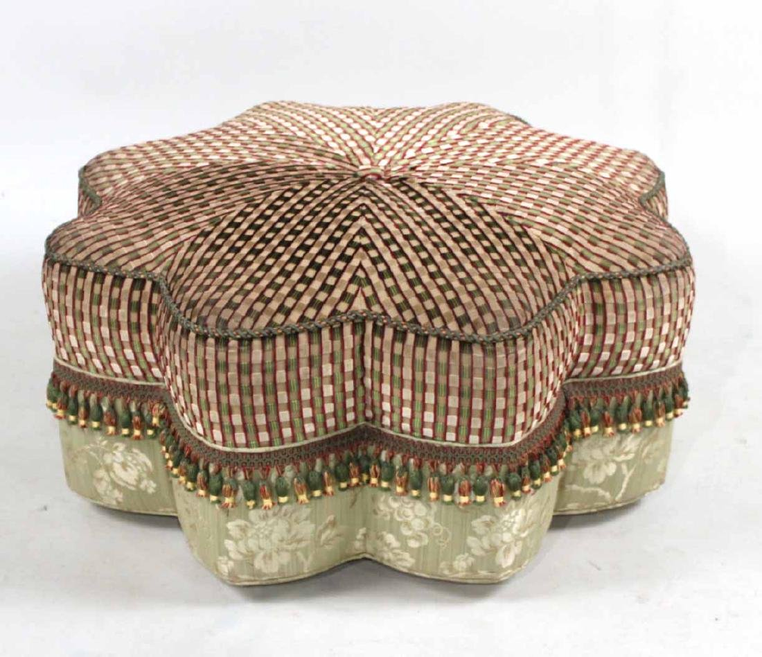 Contemporary Starburst-Form Upholstered Ottoman