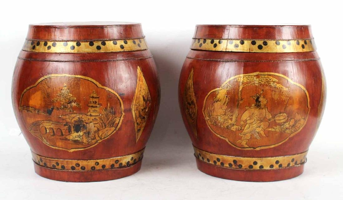 Pair of Gilt-Decorated Red-Stained Wood Boxes
