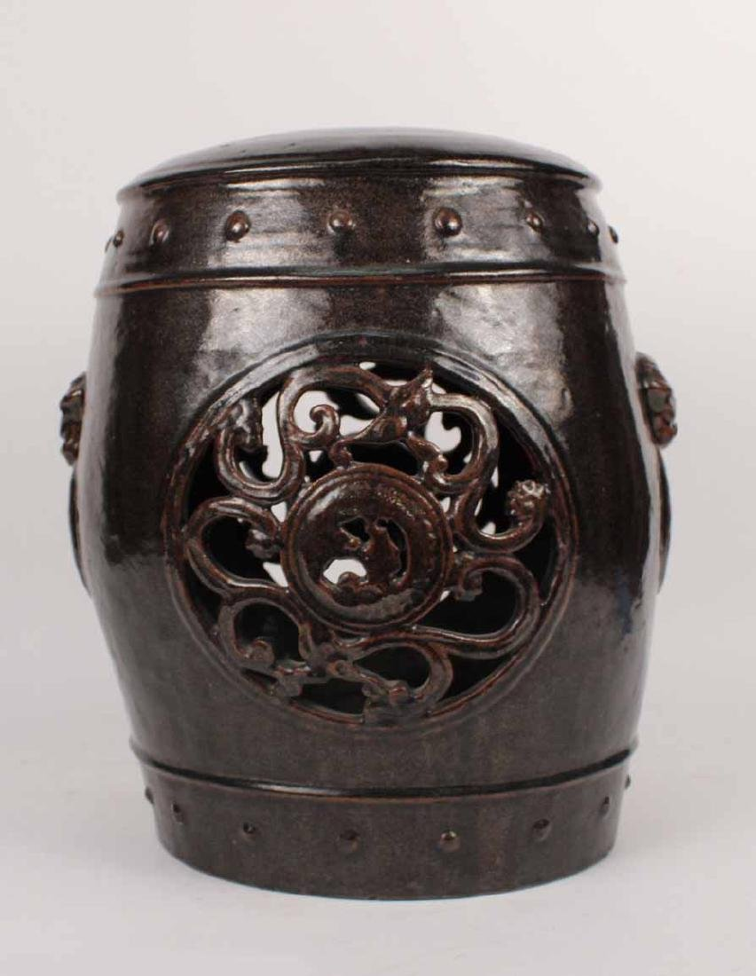Brown-Glazed Ceramic Garden Seat