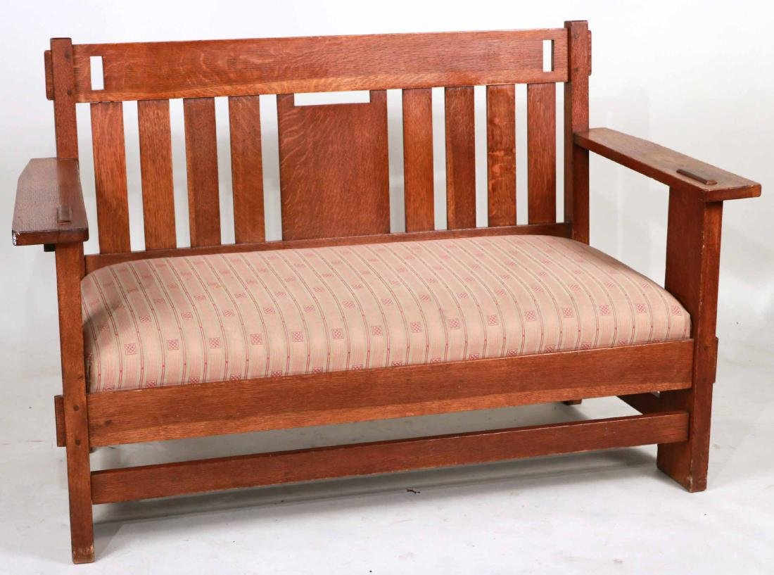 Charles Stickley Mission Oak Settee