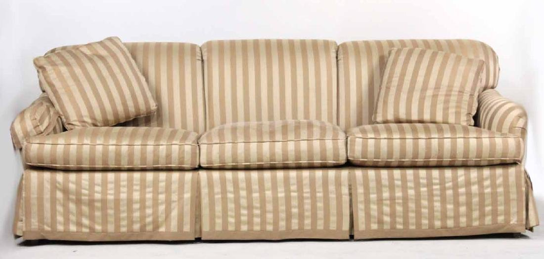 Baker Beige-Striped Upholstered Sofa