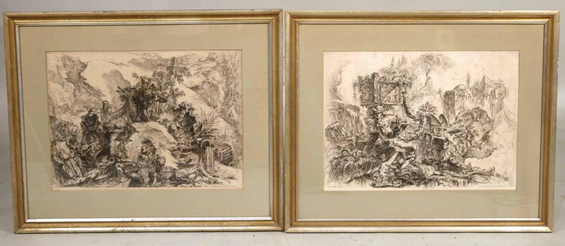 Two Architectural Etchings, Giovanni Piranesi