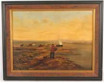 Oil on Canvas Man Fishing James M Hart