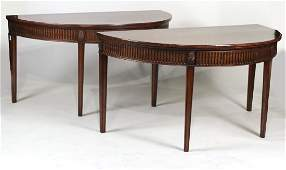 Pair of Mahogany Demilune Console Tables
