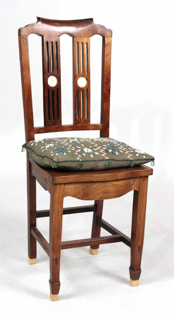 Chinese Hardwood Marble-Inset Side Chair