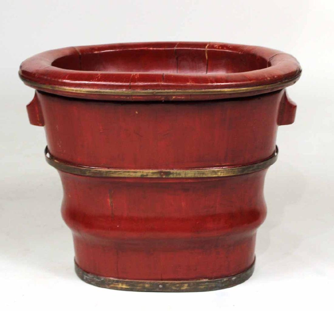 Chinese Red-Lacquer Double Bucket