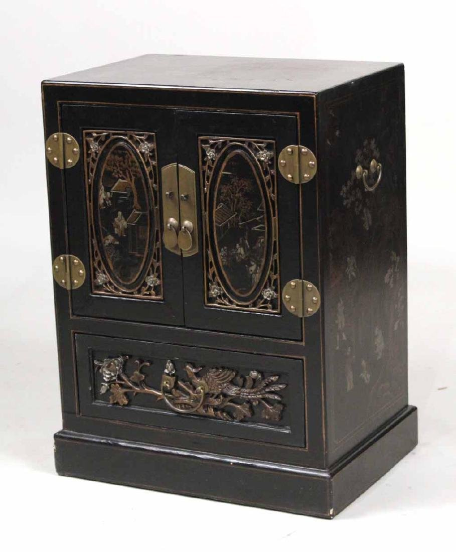 Chinese Style Black-Lacquered Cabinet