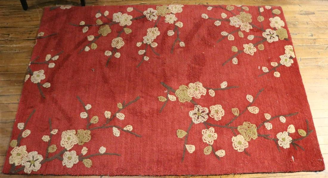 Contemporary Floral-Decorated Throw Rug