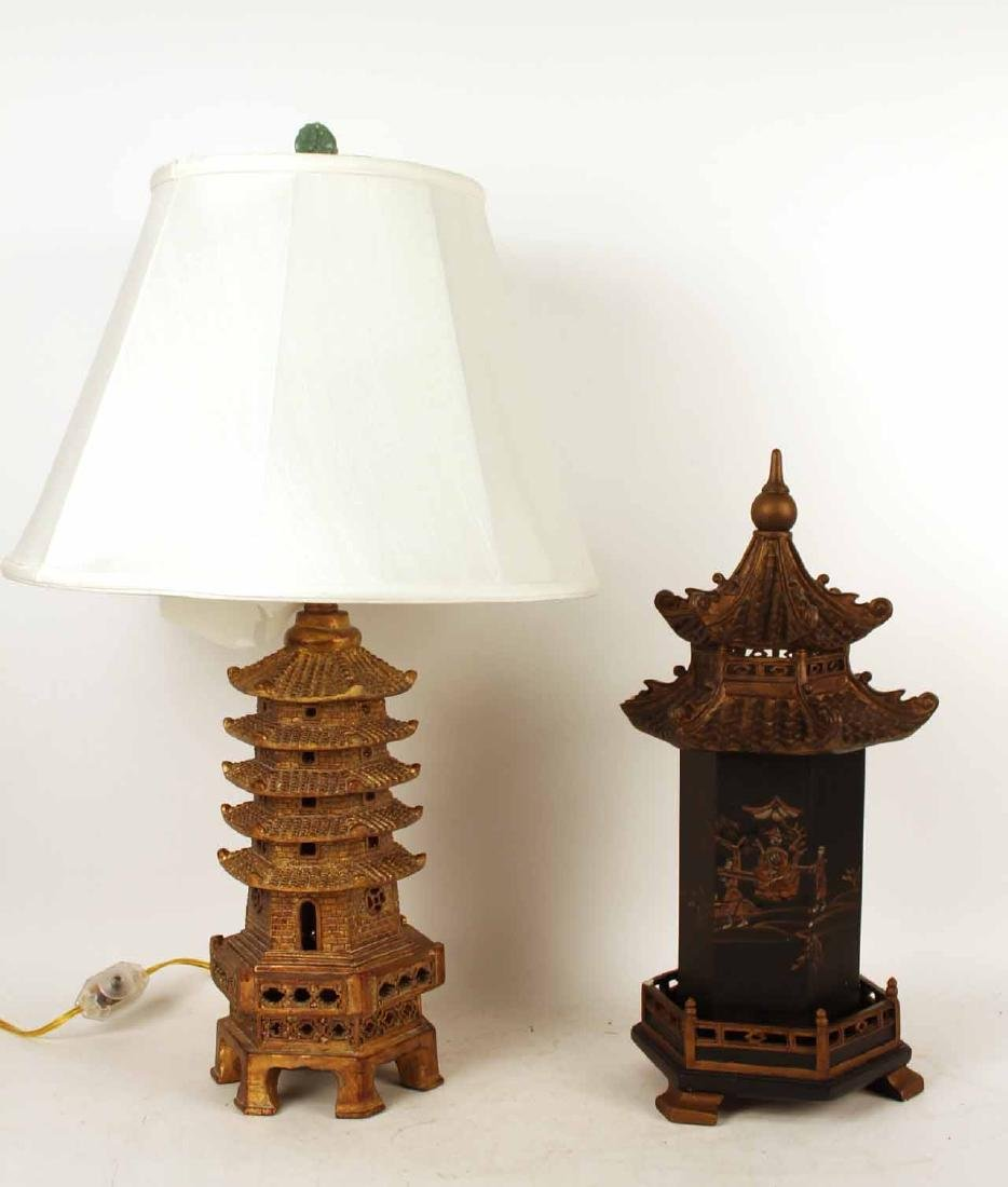 Gold-Painted Pagoda-Form Table Lamp