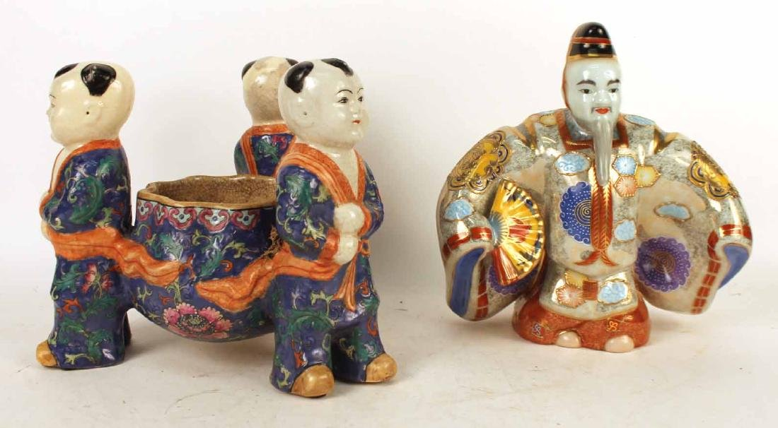 Chinese Style Figural Ceramic Planters