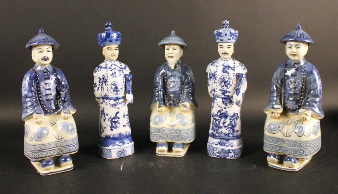 Five Blue-and-White Porcelain Court Officials