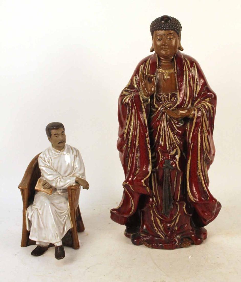 Oxblood-Glazed Stoneware Standing Buddha