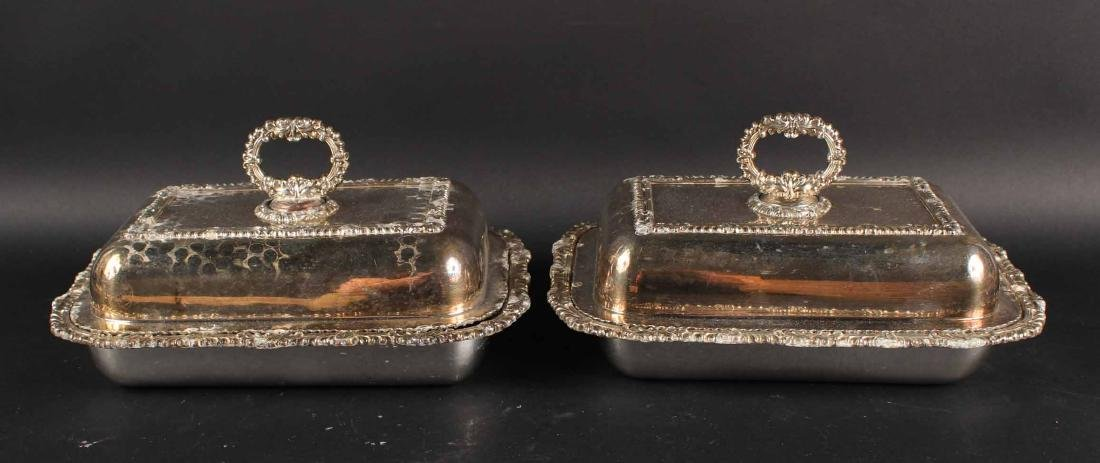PAIR OF SILVER PLATED COVERED VEGETABLE DISHES