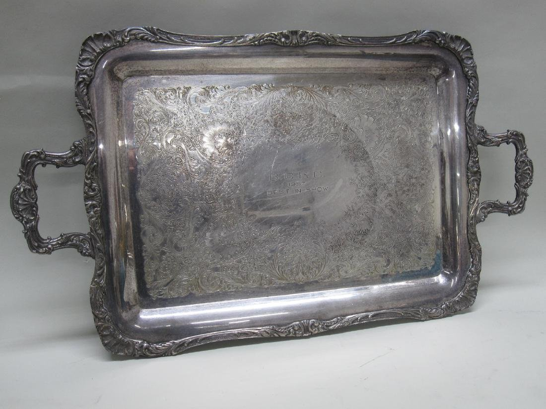 SILVERPLATED DOUBLE HANDLED TROPHY TRAY