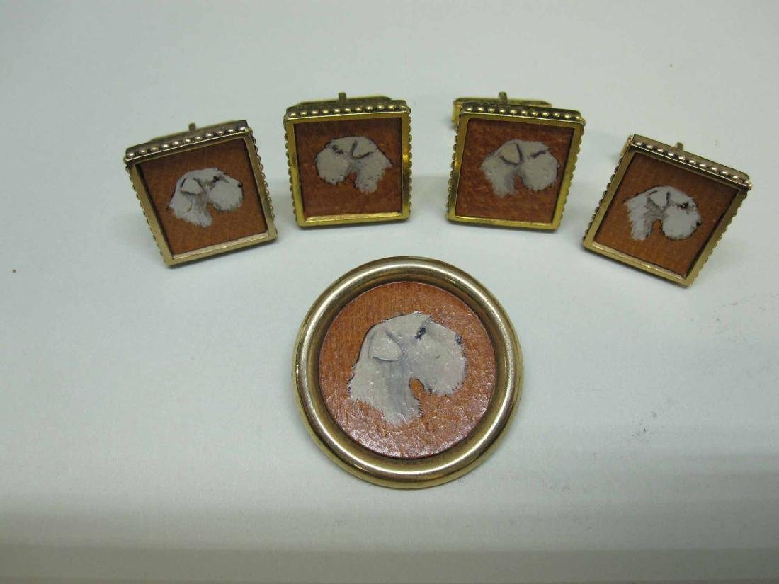 TWO PAIRS OF SEALYHAM TERRIER CUFF LINKS