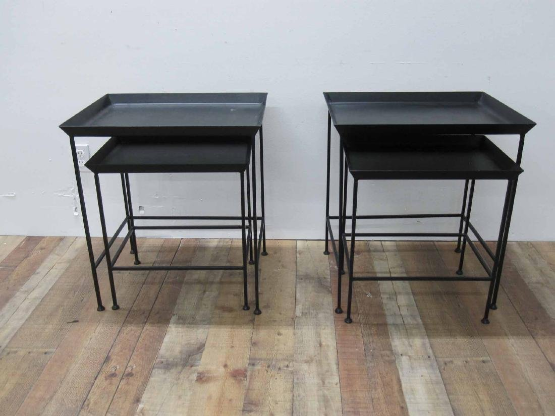 TWO SET OF METAL NESTING TABLES