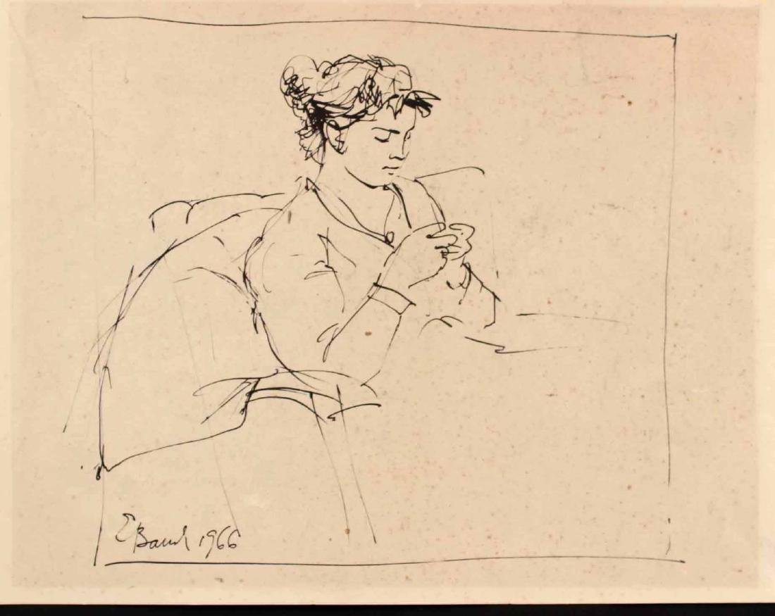 INK ON PAPER, SEATED LADY, E. BAUCH