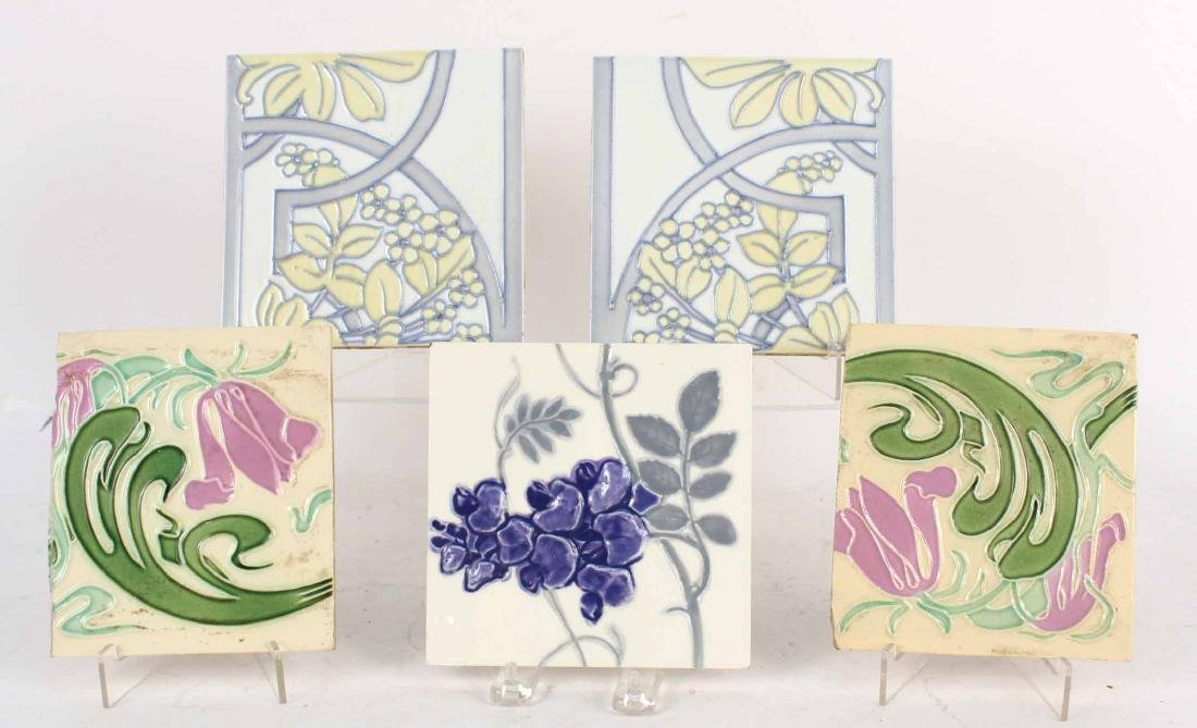 FIVE ART NOUVEAU GLAZED CERAMIC TILES