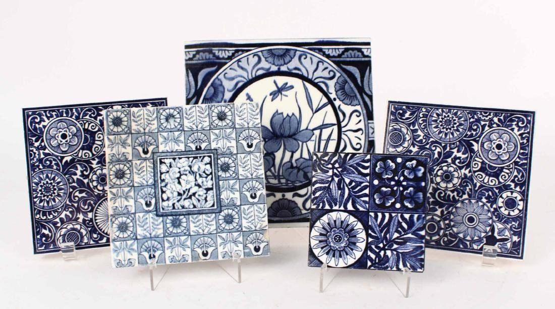 SIX BLUE AND WHITE GLAZED CERAMIC TILES