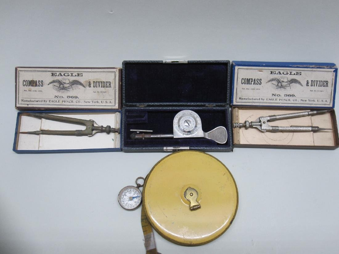 TWO VINTAGE BOXED COMPASSES
