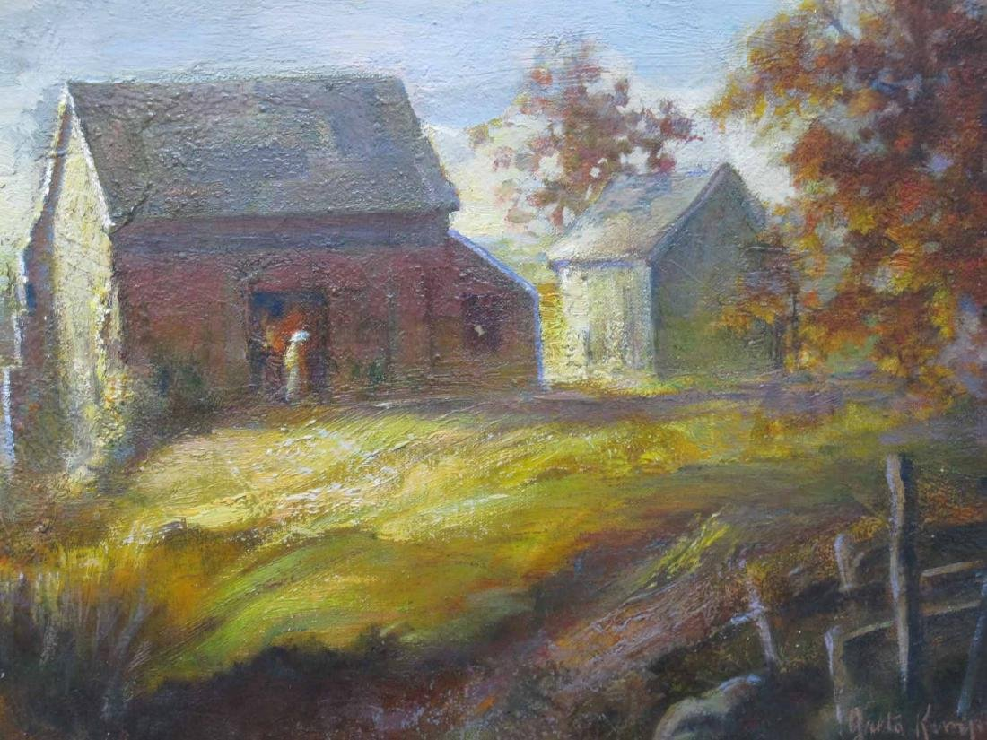 OIL ON CANVAS OF BARN LANDSCAPE