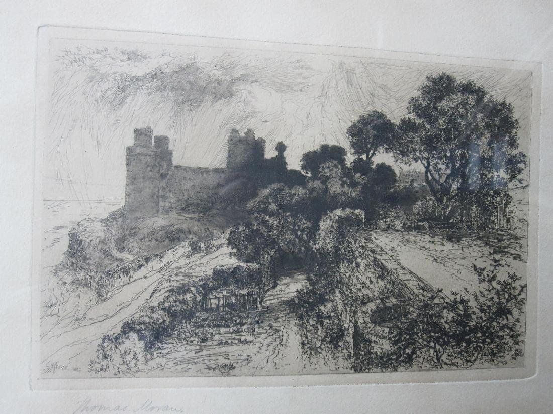 THOMAS MORAN ETCHING OF CASTLE