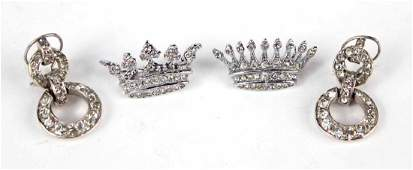 TWO SILVER TONE SMALL CROWN PINS