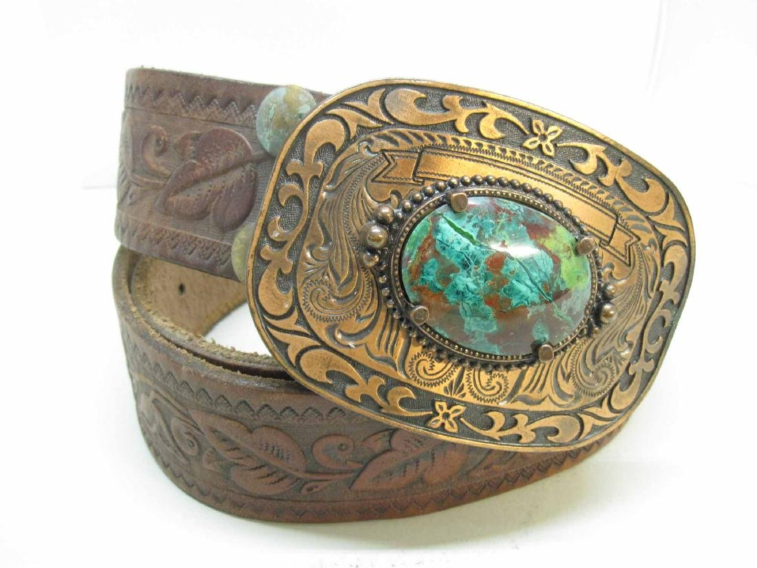 COPPER BELT BUCKLE WITH MALACHITE