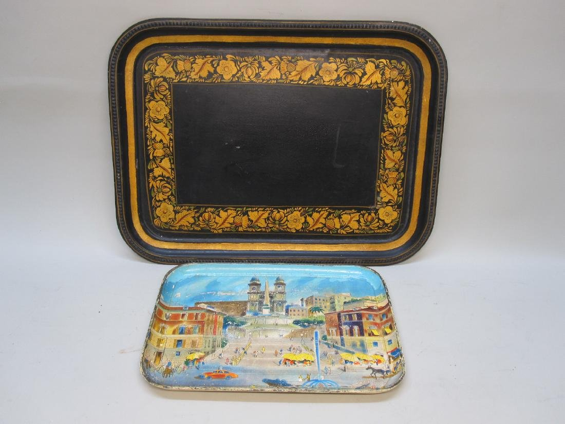 TOLEWARE DECORATED SERVING TRAY