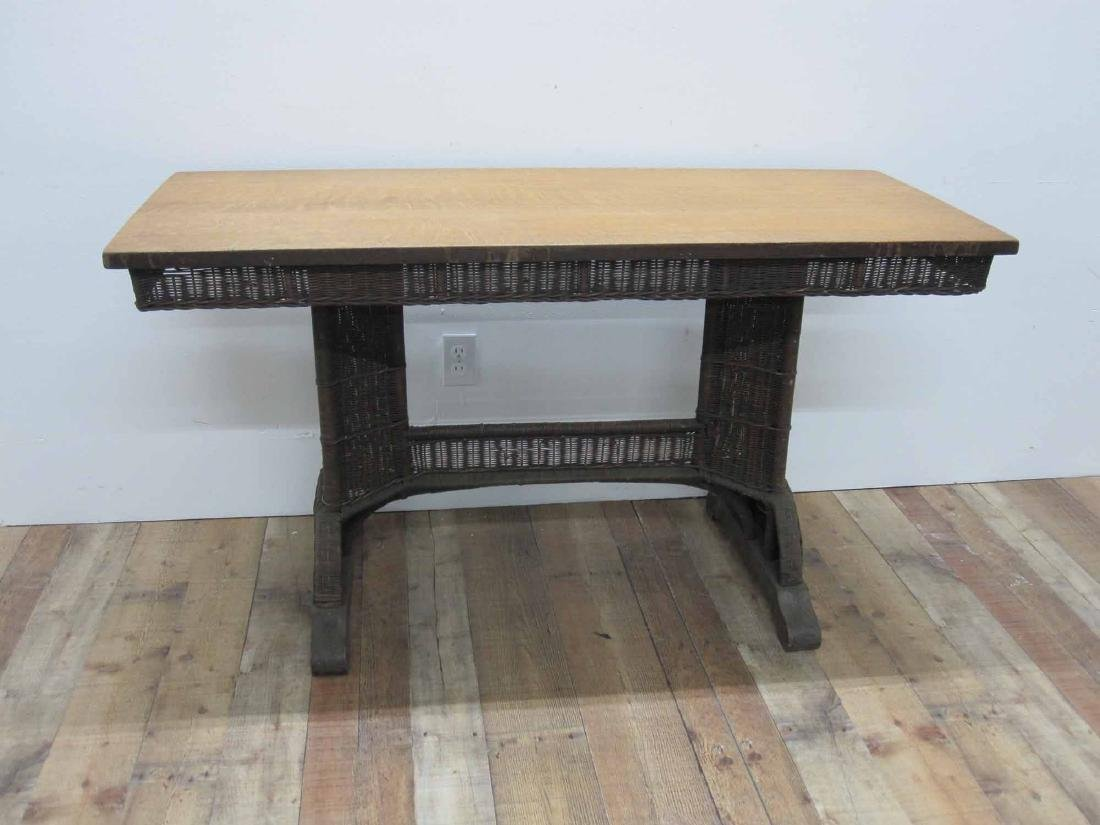 NATURAL HEYWOOD WICKER LIBRARY TABLE