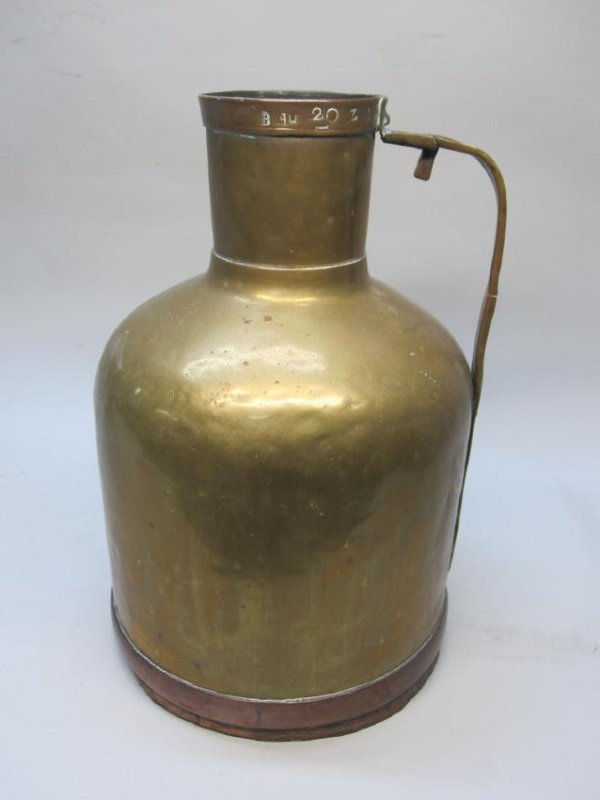 LARGE BRASS AND COPPER WATER JUG