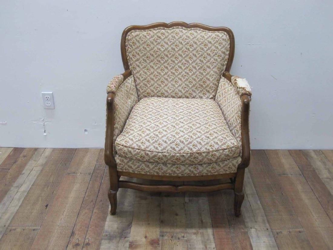 FRENCH PROVINCIAL UPHOLSTERED ARMCHAIR