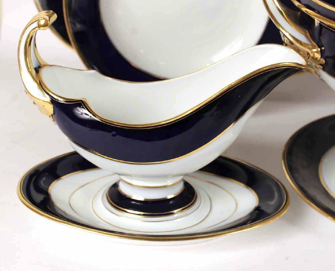 Parcel-Gilt Cobalt Rim Porcelain Dinner Service - 10
