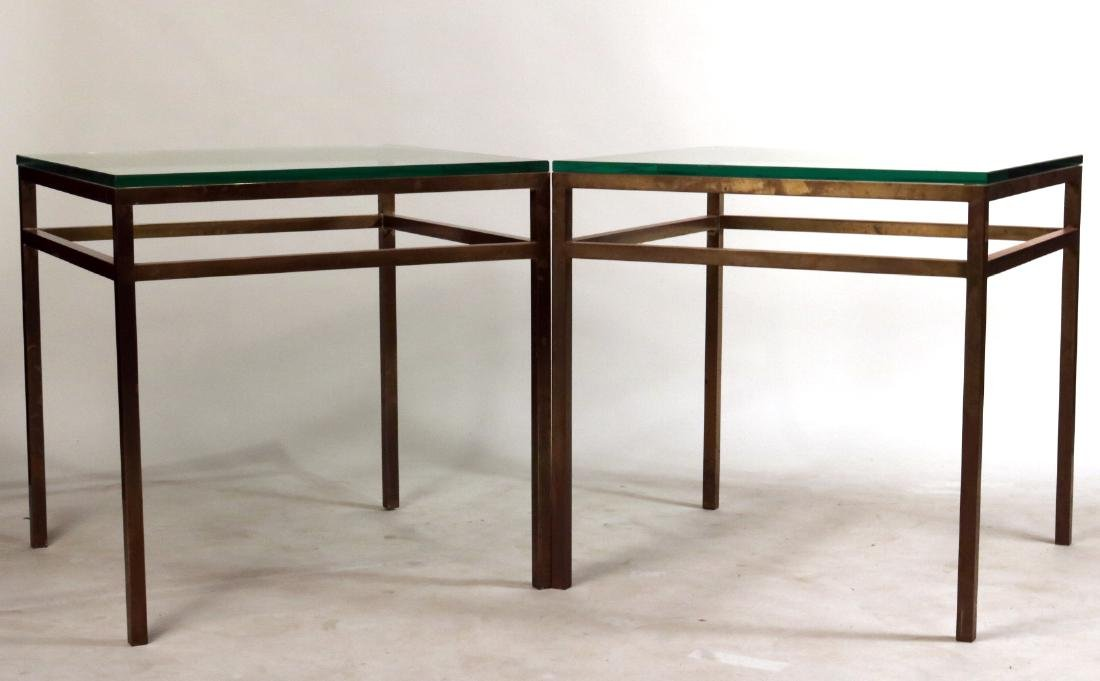 Pair of Contemporary Brass and Glass Side Tables