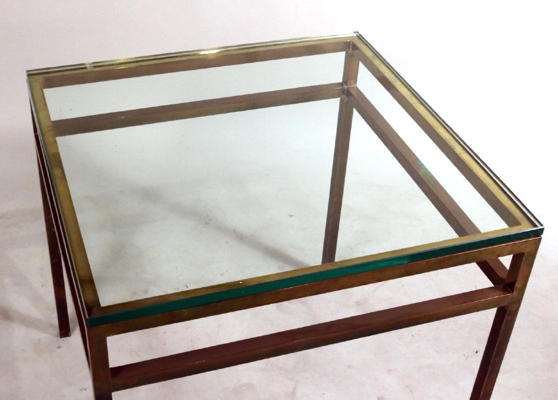 Pair of Contemporary Brass and Glass Side Tables - 5