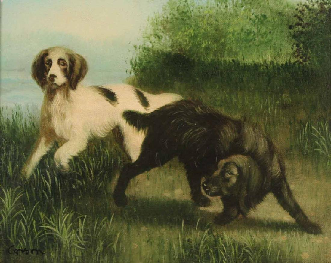 Pair of Oils on Canvas of Dogs - 5