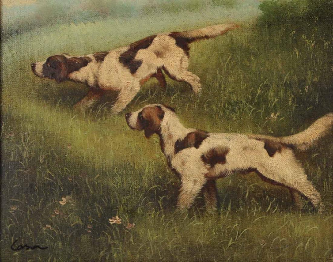 Pair of Oils on Canvas of Dogs - 8