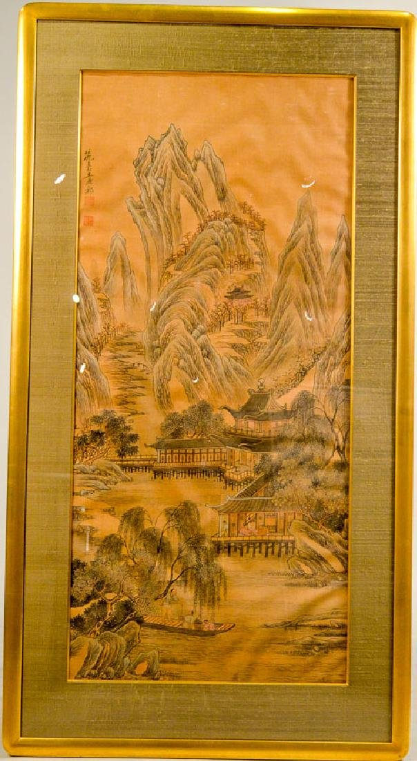 Chinese Watercolor and Ink on Silk of Village