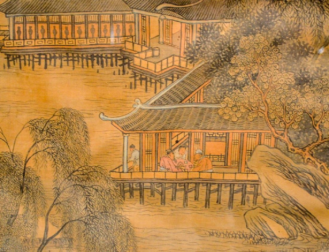 Chinese Watercolor and Ink on Silk of Village - 3