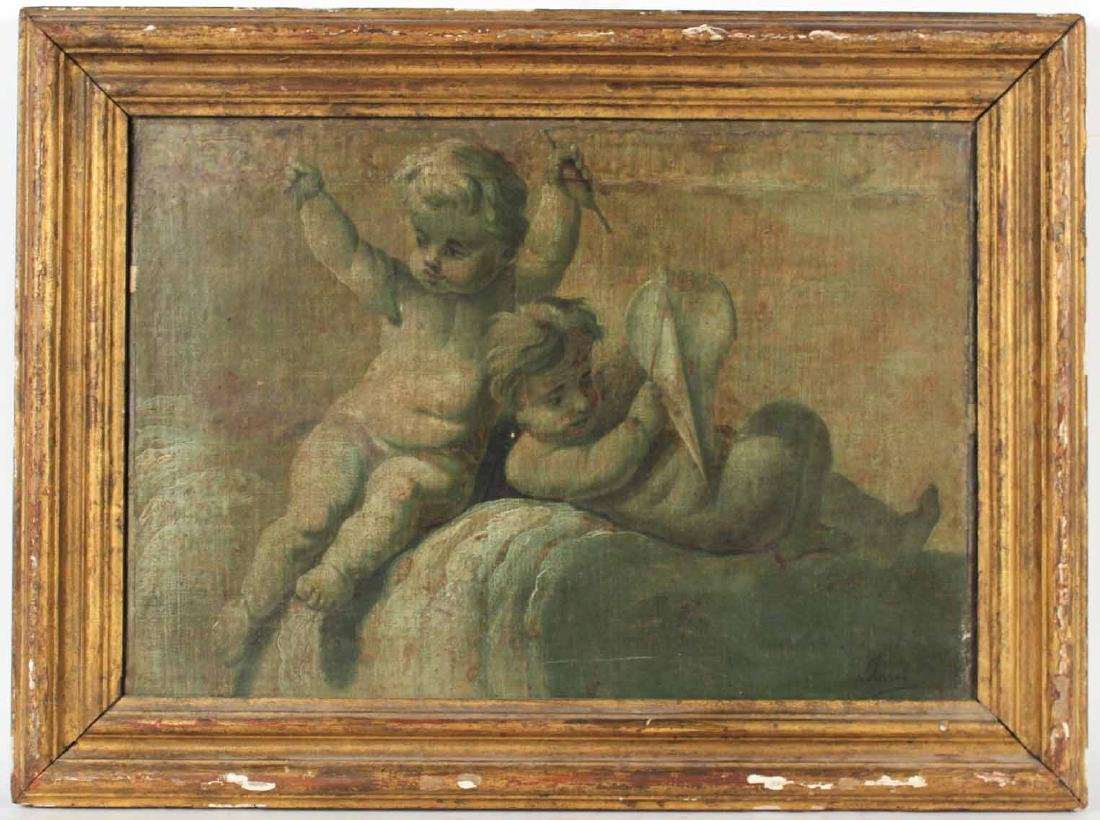 Oil on Canvas, Two Putti