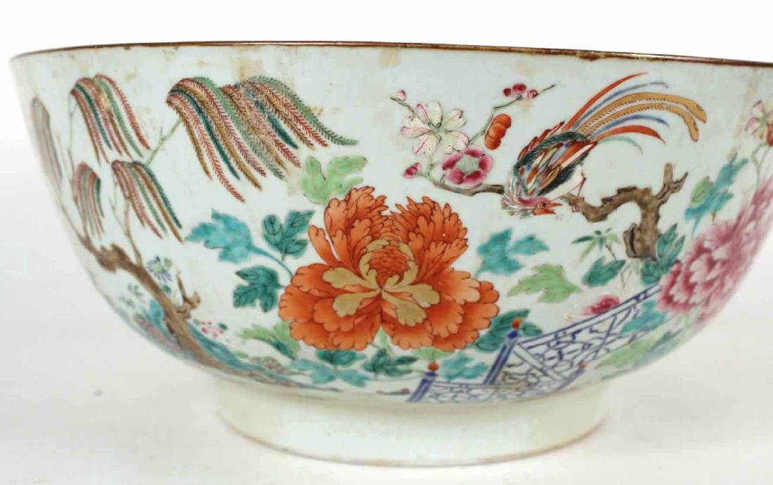 Chinese Famille Rose Porcelain Punch Bowl - 2