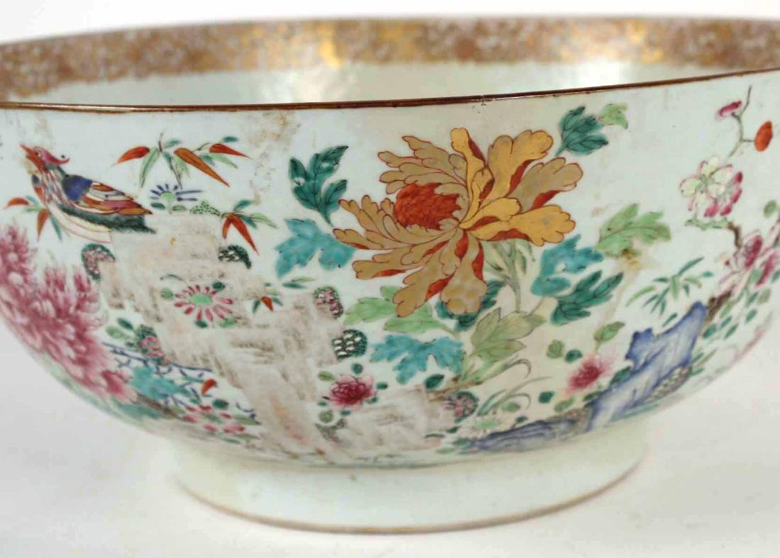 Chinese Famille Rose Porcelain Punch Bowl - 3