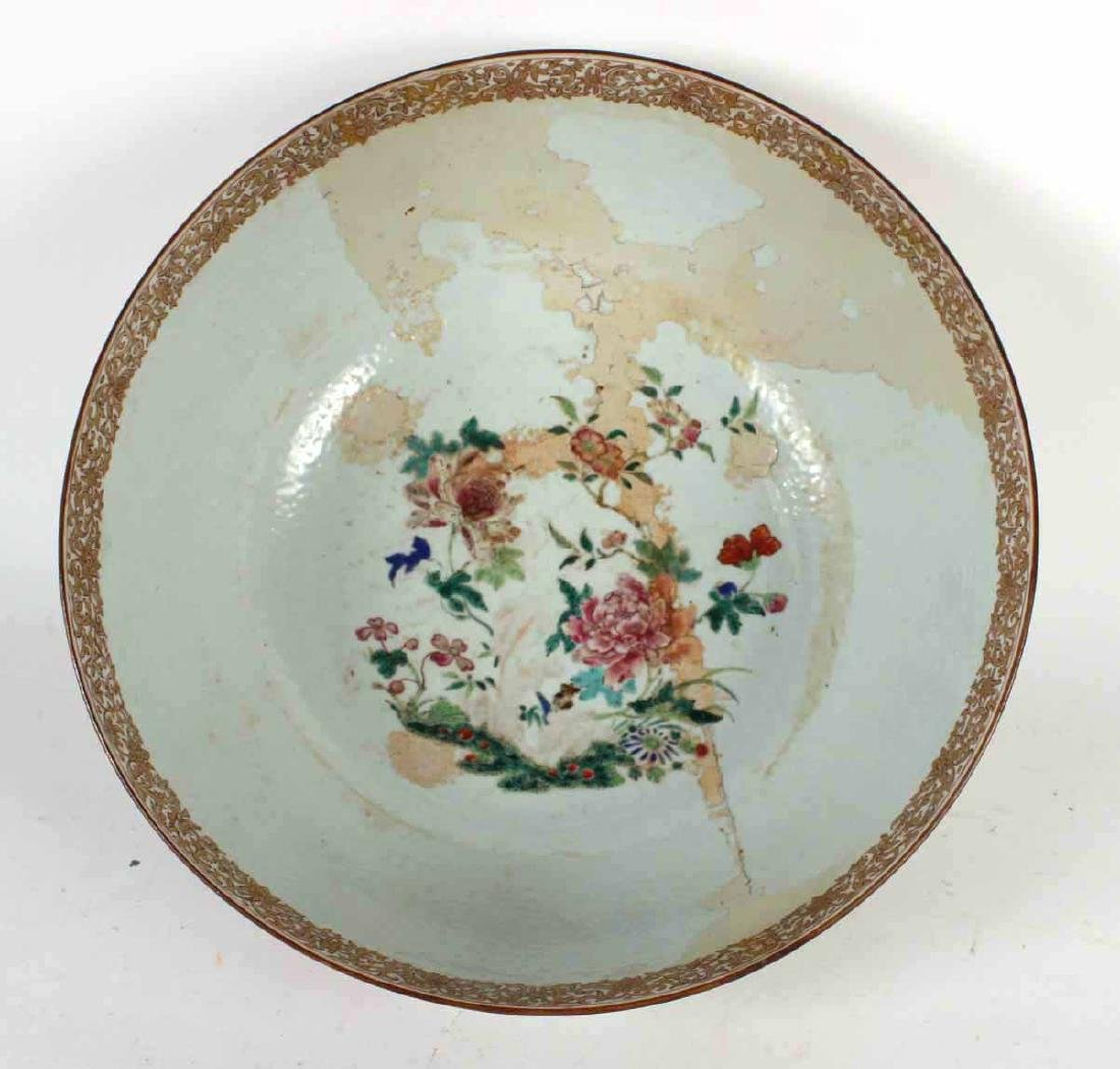 Chinese Famille Rose Porcelain Punch Bowl - 4