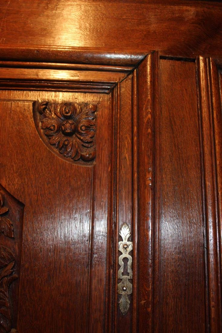 French Provincial Carved Oak and Chestnut Armoire - 10