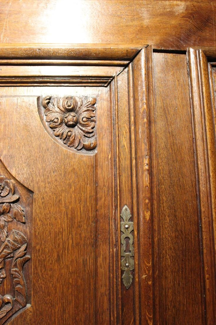 French Provincial Carved Oak and Chestnut Armoire - 11