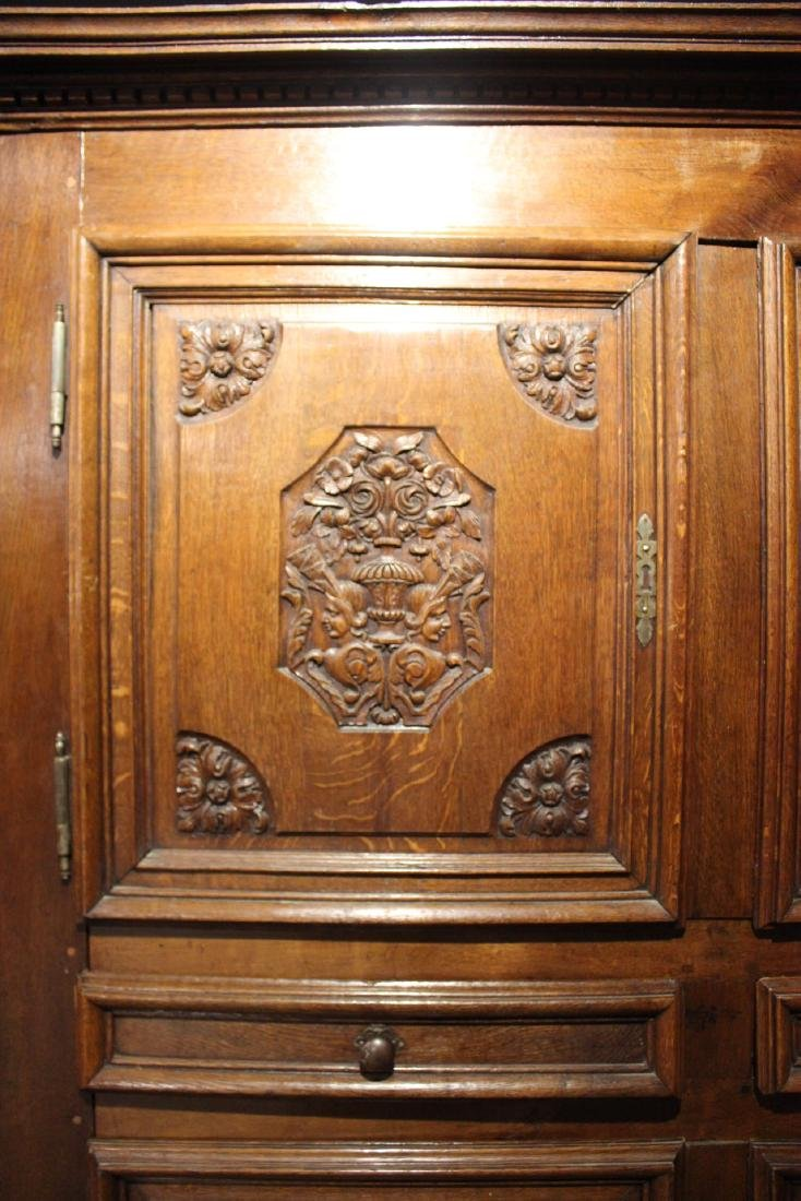 French Provincial Carved Oak and Chestnut Armoire - 12